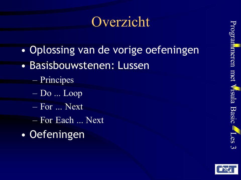 Programmeren met Visula Basic – Les 3 Overzicht Oplossing van de vorige oefeningen Basisbouwstenen: Lussen –Principes –Do...
