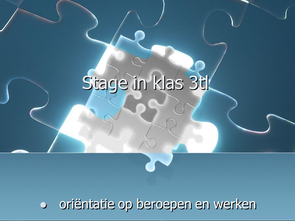 Stage in klas 3tl oriëntatie op beroepen en werken