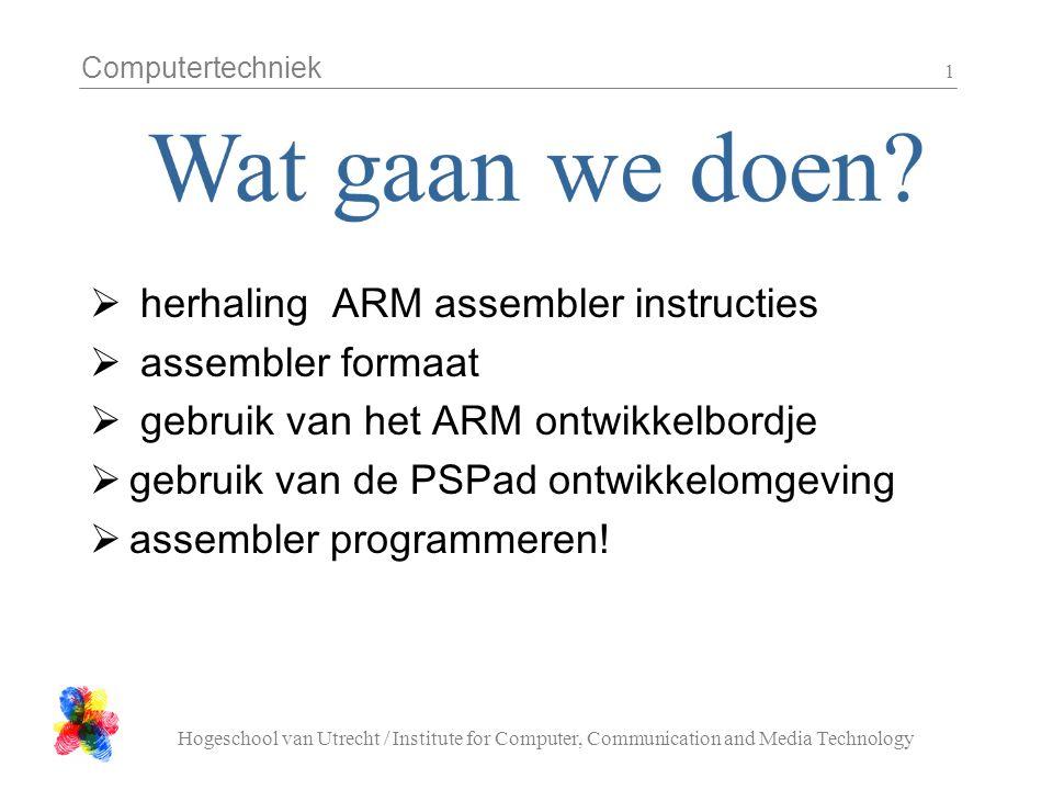 Computertechniek Hogeschool van Utrecht / Institute for Computer, Communication and Media Technology 12 zet onder file > target settings:  Target = Remote/TCP  Hostname = 127.0.0.1  Port = 8888 (als je netjes afsluit blijft zou dit moeten blijven staan)