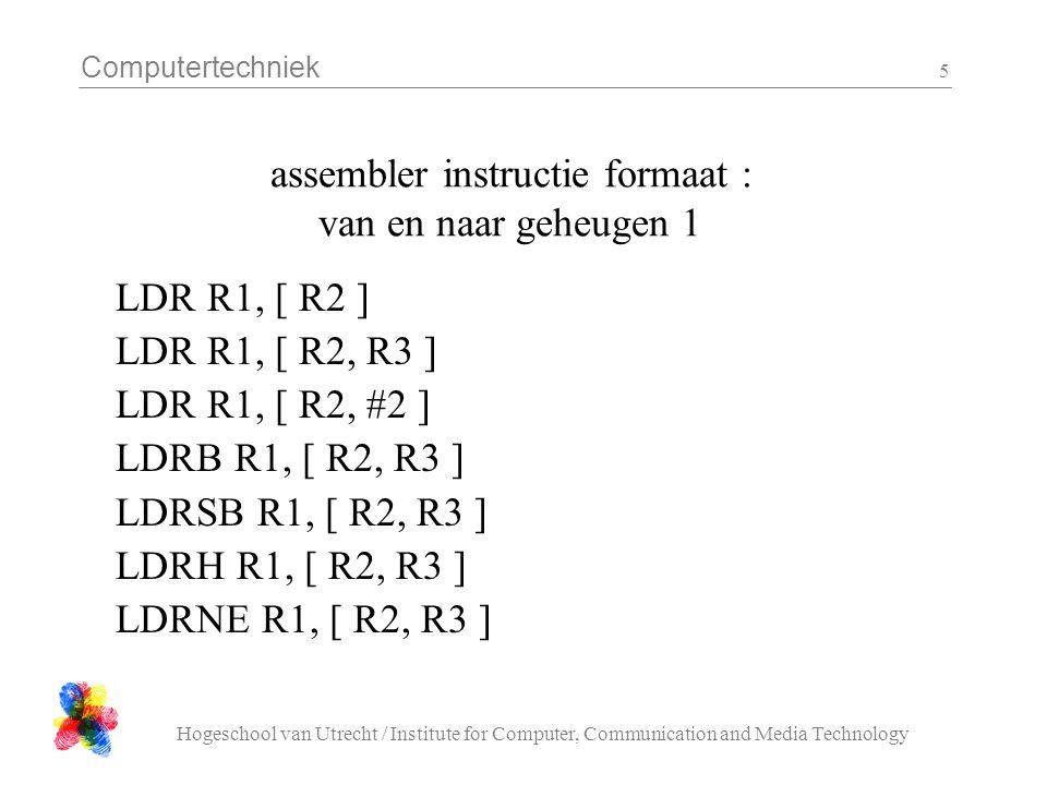 Computertechniek Hogeschool van Utrecht / Institute for Computer, Communication and Media Technology 6 assembler instructie formaat : van en naar geheugen 2 LDR R1, [ R2, R3 ] .