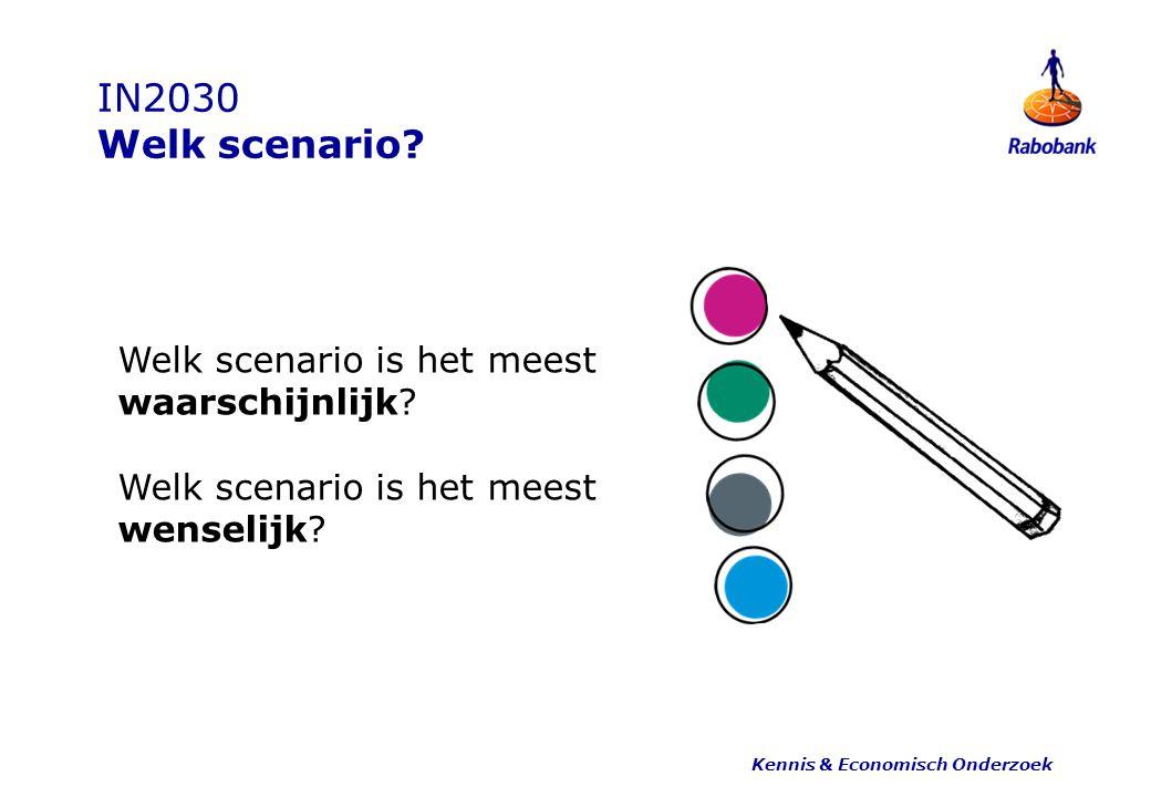 IN2030 Welk scenario? Kennis & Economisch Onderzoek Welk scenario is het meest waarschijnlijk? Welk scenario is het meest wenselijk?