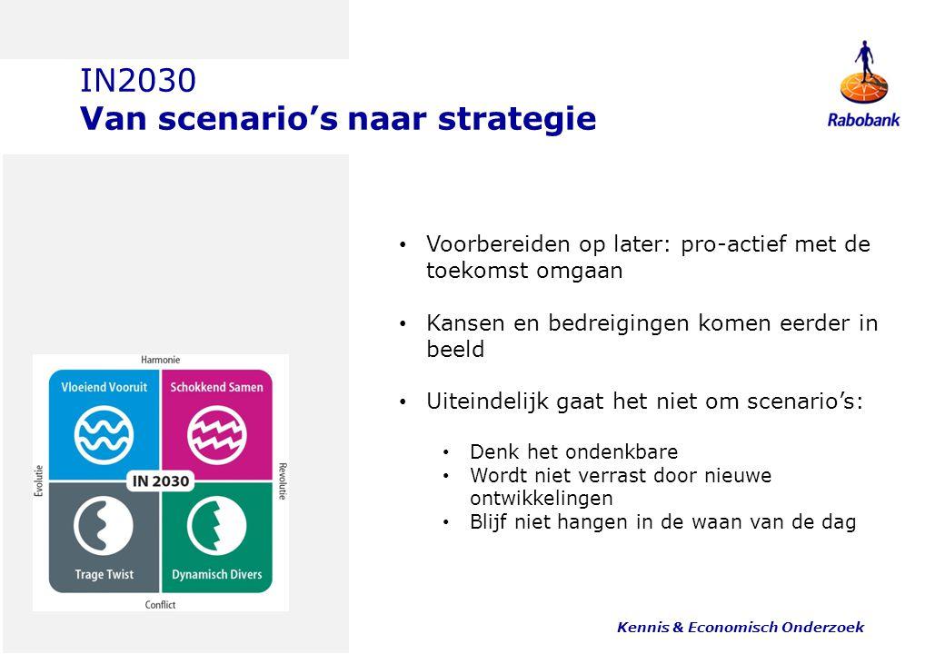 IN2030 Van scenario's naar strategie Kennis & Economisch Onderzoek 16 Voorbereiden op later: pro-actief met de toekomst omgaan Kansen en bedreigingen