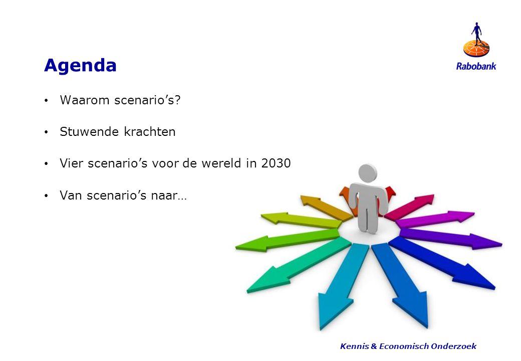 Agenda Waarom scenario's? Stuwende krachten Vier scenario's voor de wereld in 2030 Van scenario's naar… Kennis & Economisch Onderzoek