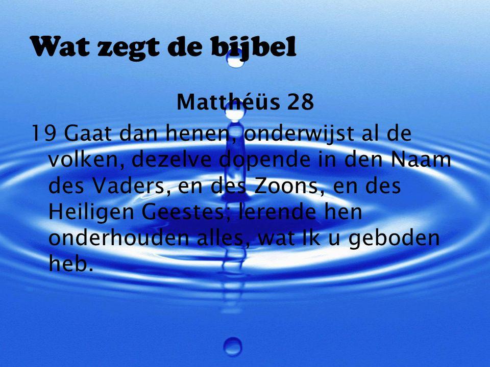 Wat zegt de bijbel Matthéüs 28 19 Gaat dan henen, onderwijst al de volken, dezelve dopende in den Naam des Vaders, en des Zoons, en des Heiligen Geest