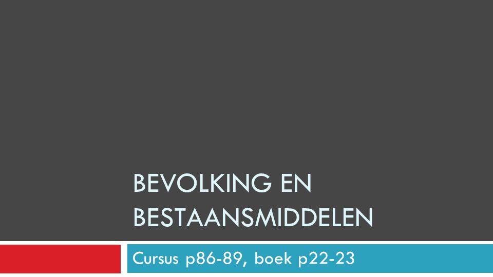 BEVOLKING EN BESTAANSMIDDELEN Cursus p86-89, boek p22-23
