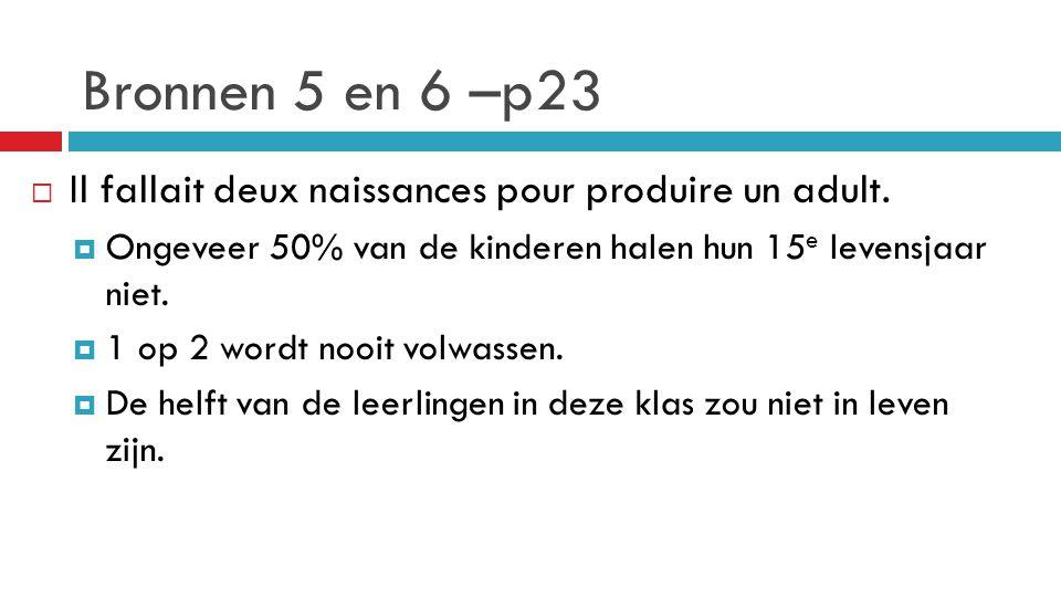 Bronnen 5 en 6 –p23  Il fallait deux naissances pour produire un adult.  Ongeveer 50% van de kinderen halen hun 15 e levensjaar niet.  1 op 2 wordt