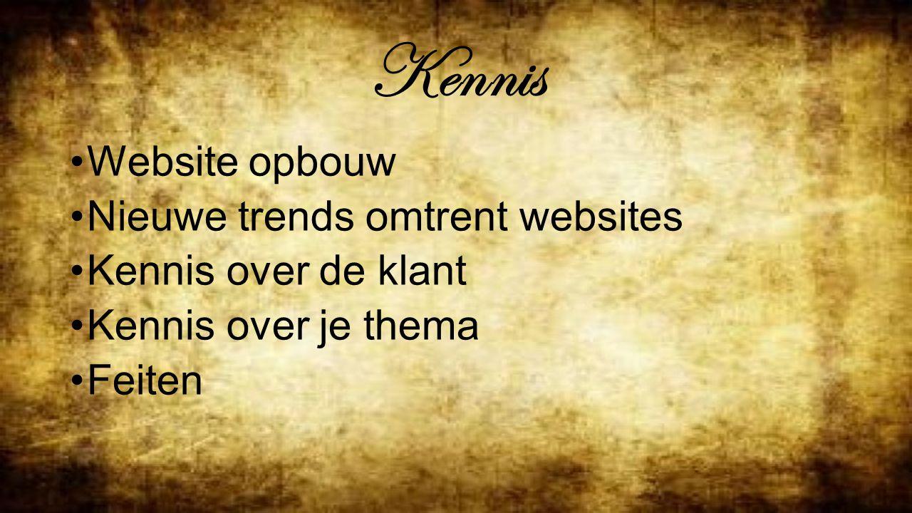 Kennis Website opbouw Nieuwe trends omtrent websites Kennis over de klant Kennis over je thema Feiten