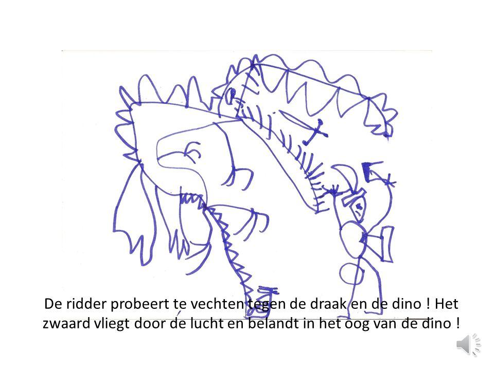 De ridder probeert te vechten tegen de draak en de dino .