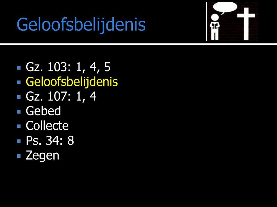 Geloofsbelijdenis  Gz. 103: 1, 4, 5  Geloofsbelijdenis  Gz. 107: 1, 4  Gebed  Collecte  Ps. 34: 8  Zegen