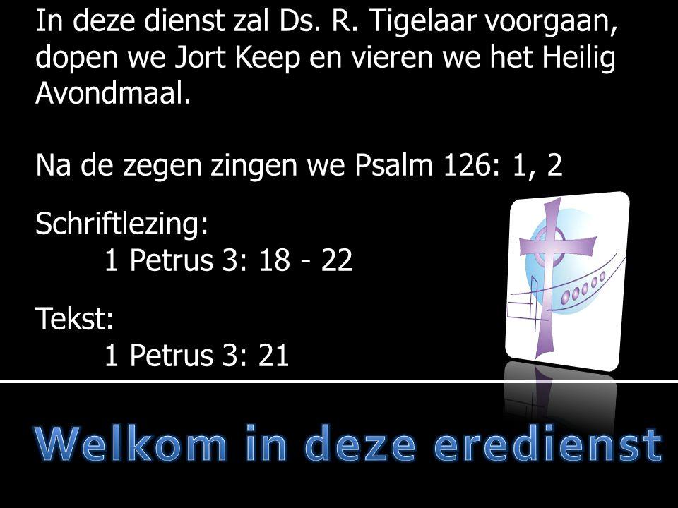 In deze dienst zal Ds.R. Tigelaar voorgaan, dopen we Jort Keep en vieren we het Heilig Avondmaal.