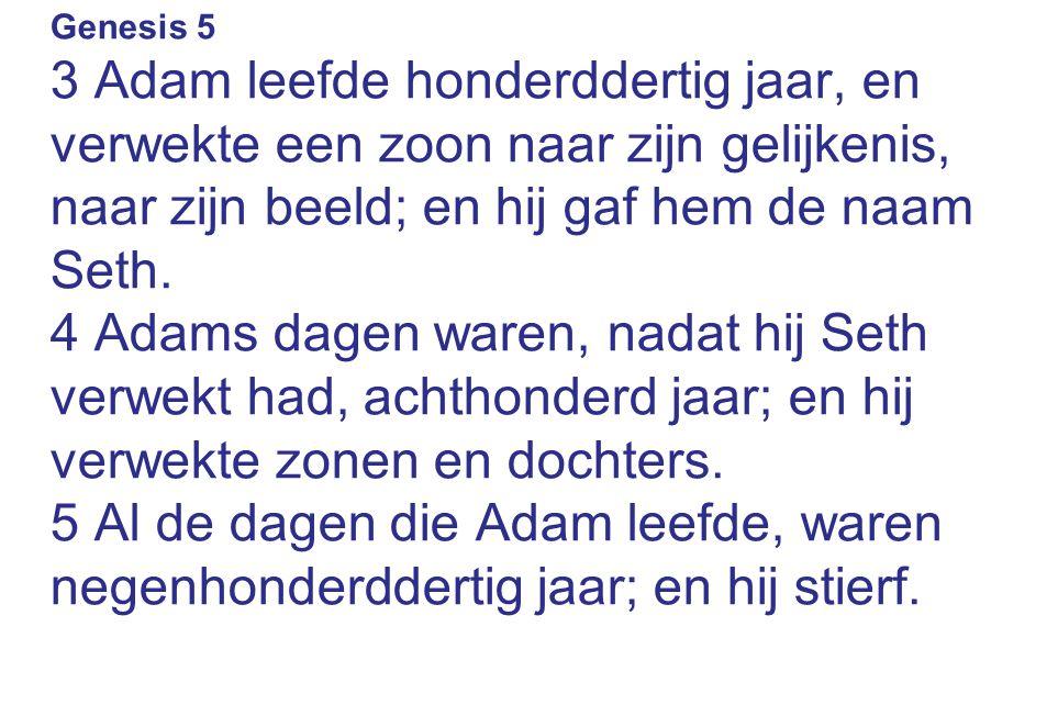 Genesis 5 3 Adam leefde honderddertig jaar, en verwekte een zoon naar zijn gelijkenis, naar zijn beeld; en hij gaf hem de naam Seth. 4 Adams dagen war