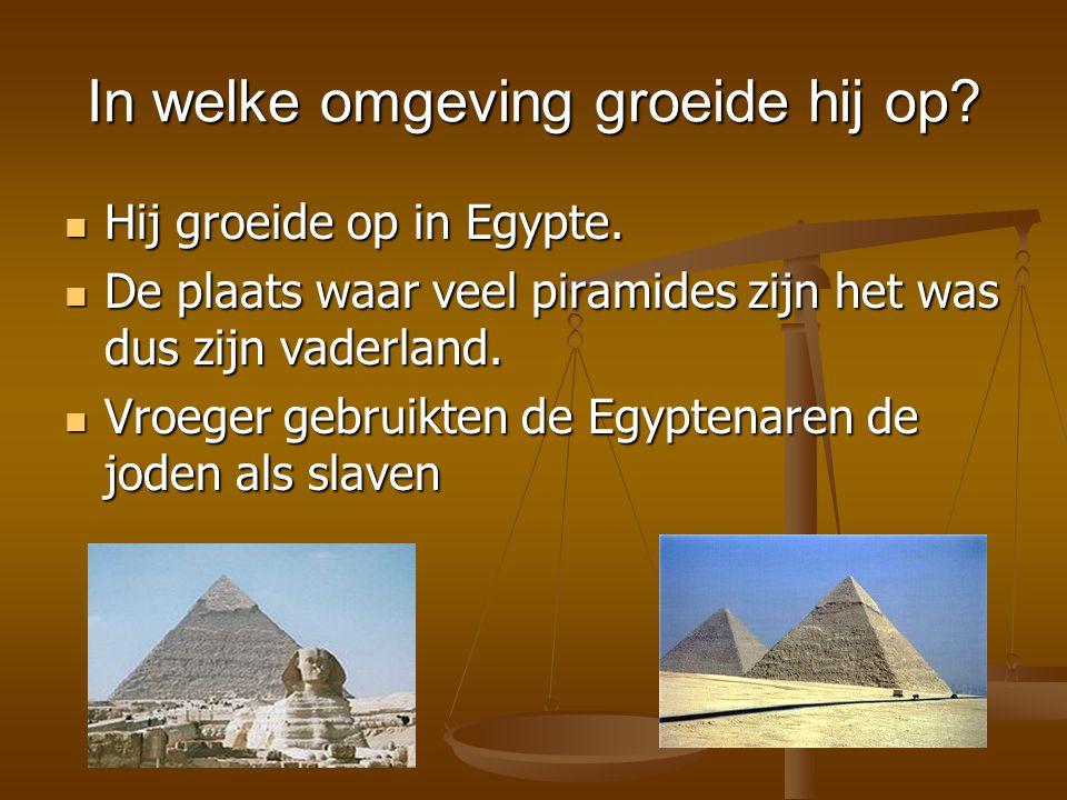 In welke omgeving groeide hij op? Hij groeide op in Egypte. Hij groeide op in Egypte. De plaats waar veel piramides zijn het was dus zijn vaderland. D