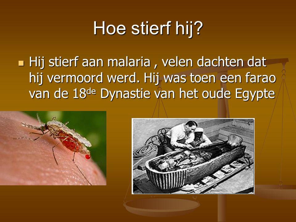 Hoe stierf hij? Hij stierf aan malaria, velen dachten dat hij vermoord werd. Hij was toen een farao van de 18 de Dynastie van het oude Egypte Hij stie