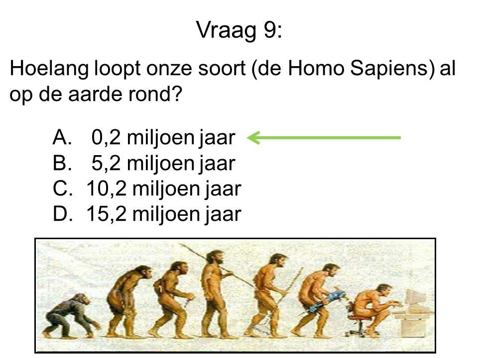 Vraag 9: Hoelang loopt onze soort (de Homo Sapiens) al op de aarde rond.