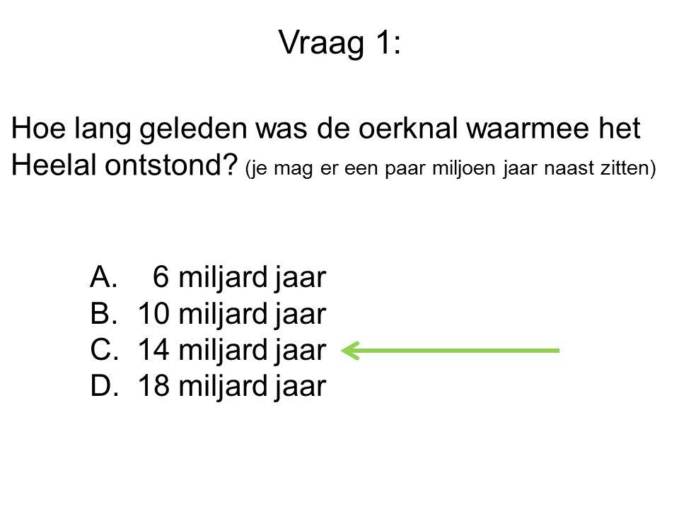 Vraag 1: Hoe lang geleden was de oerknal waarmee het Heelal ontstond.