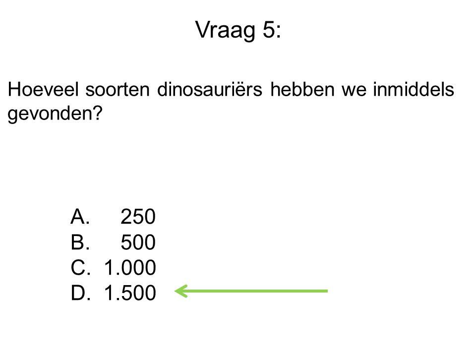 Vraag 5: Hoeveel soorten dinosauriërs hebben we inmiddels gevonden? A. 250 B. 500 C. 1.000 D. 1.500