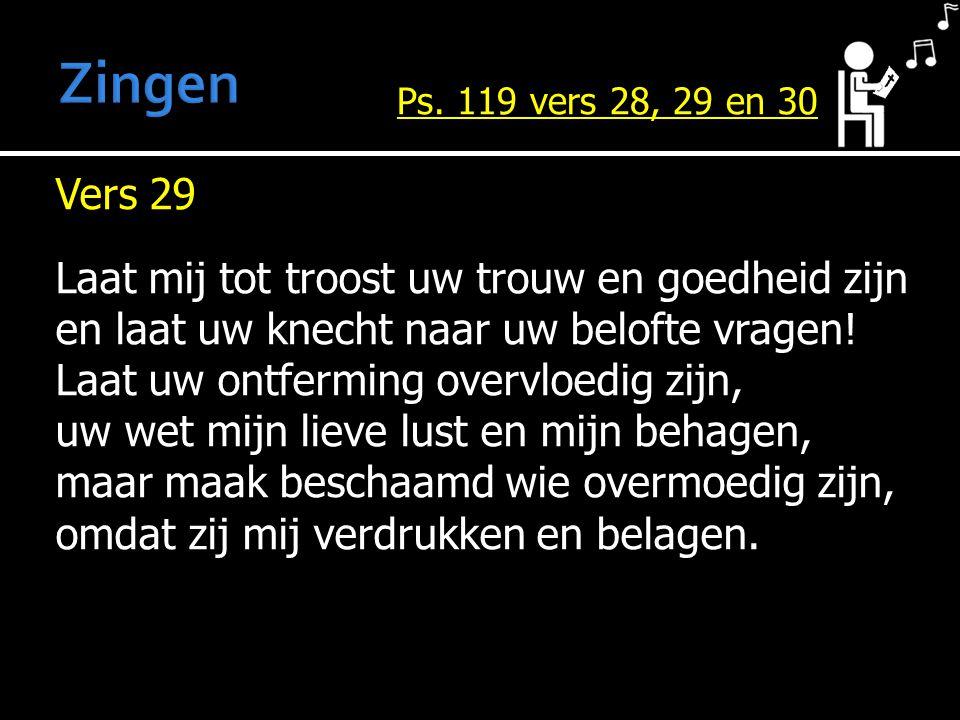 Vers 29 Laat mij tot troost uw trouw en goedheid zijn en laat uw knecht naar uw belofte vragen.