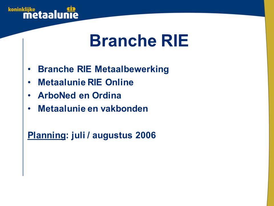 Branche RIE Branche RIE Metaalbewerking Metaalunie RIE Online ArboNed en Ordina Metaalunie en vakbonden Planning: juli / augustus 2006
