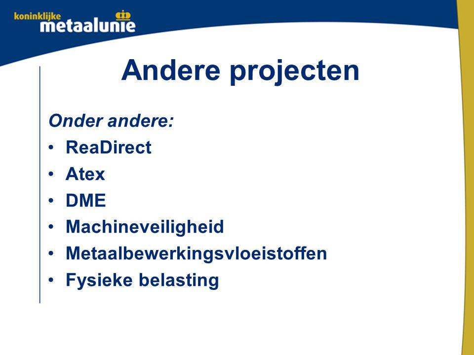Andere projecten Onder andere: ReaDirect Atex DME Machineveiligheid Metaalbewerkingsvloeistoffen Fysieke belasting
