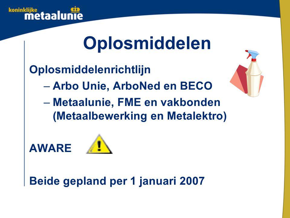 Oplosmiddelen Oplosmiddelenrichtlijn –Arbo Unie, ArboNed en BECO –Metaalunie, FME en vakbonden (Metaalbewerking en Metalektro) AWARE Beide gepland per