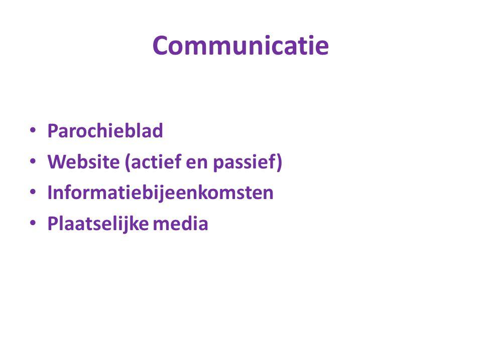 Communicatie Parochieblad Website (actief en passief) Informatiebijeenkomsten Plaatselijke media