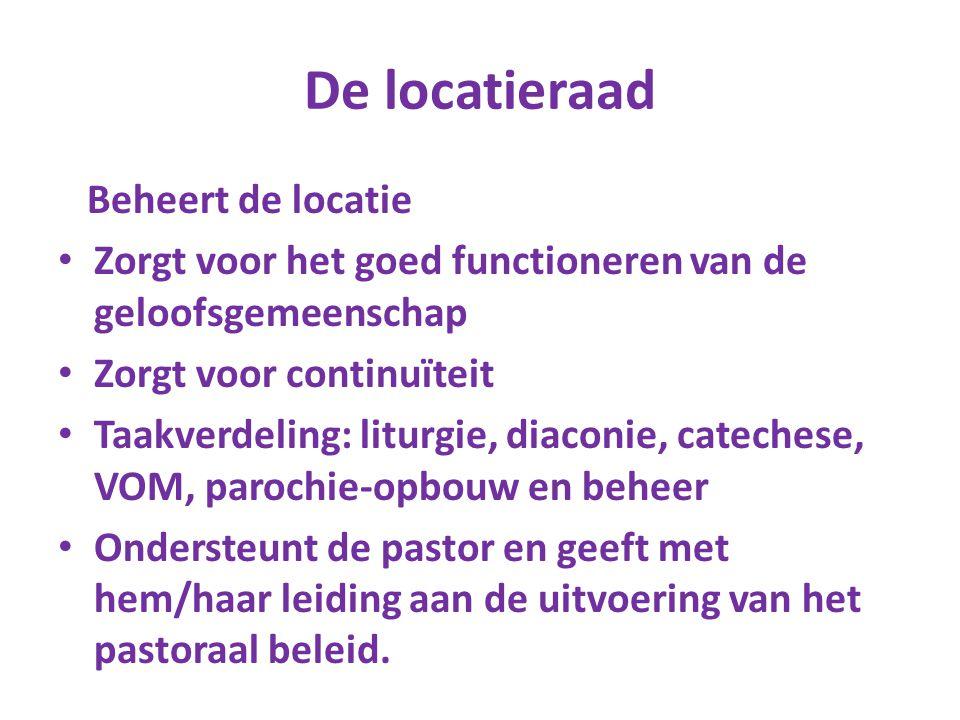 De locatieraad Beheert de locatie Zorgt voor het goed functioneren van de geloofsgemeenschap Zorgt voor continuïteit Taakverdeling: liturgie, diaconie