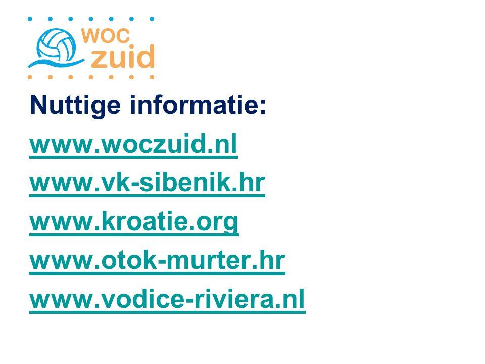 Nuttige informatie: www.woczuid.nl www.vk-sibenik.hr www.kroatie.org www.otok-murter.hr www.vodice-riviera.nl