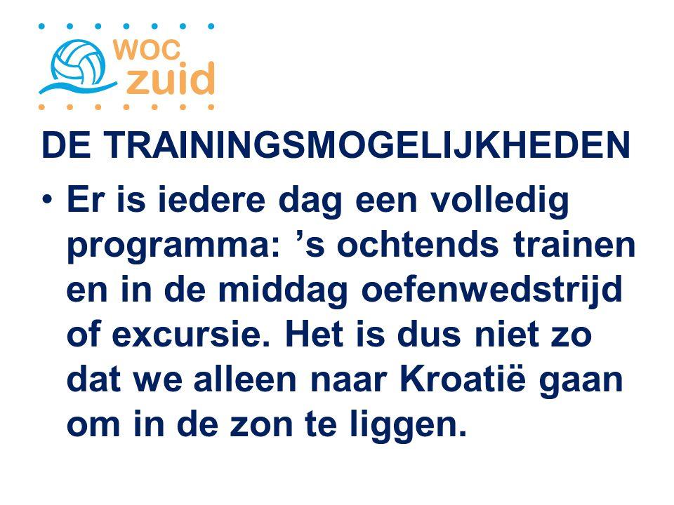 DE TRAININGSMOGELIJKHEDEN Er is iedere dag een volledig programma: 's ochtends trainen en in de middag oefenwedstrijd of excursie.
