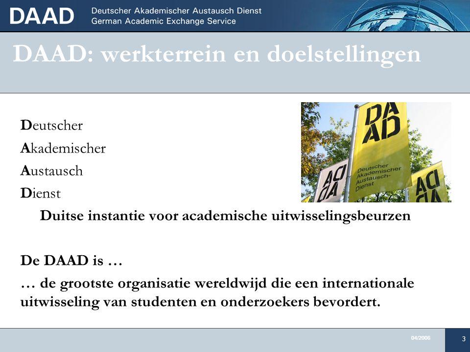 04/2006 3 DAAD: werkterrein en doelstellingen Deutscher Akademischer Austausch Dienst Duitse instantie voor academische uitwisselingsbeurzen De DAAD is … … de grootste organisatie wereldwijd die een internationale uitwisseling van studenten en onderzoekers bevordert.