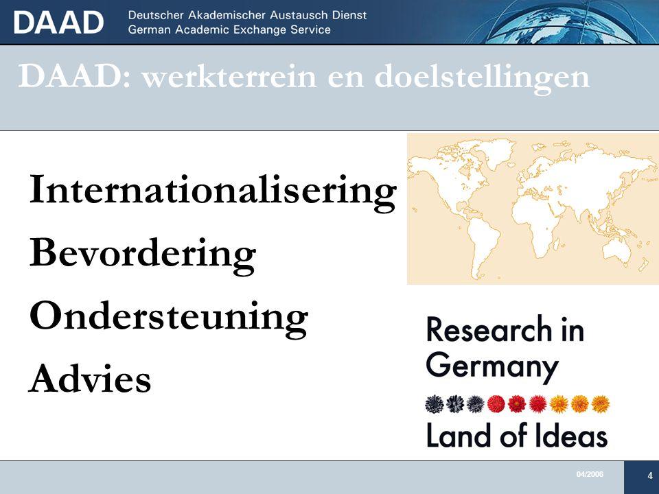 04/2006 4 DAAD: werkterrein en doelstellingen Internationalisering Bevordering Ondersteuning Advies