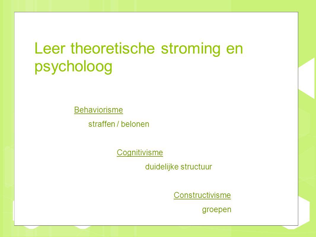 Leer theoretische stroming en psycholoog Behaviorisme straffen / belonen Cognitivisme duidelijke structuur Constructivisme groepen