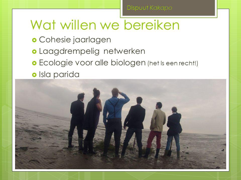 Wat willen we bereiken  Cohesie jaarlagen  Laagdrempelig netwerken  Ecologie voor alle biologen (het is een recht!)  Isla parida Dispuut Kakapo