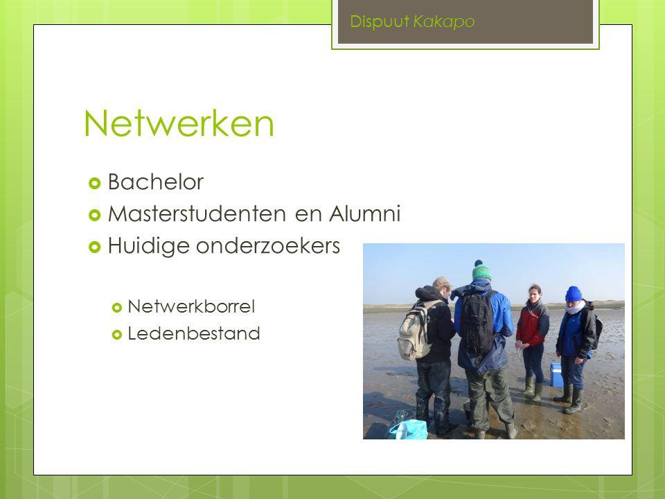 Netwerken  Bachelor  Masterstudenten en Alumni  Huidige onderzoekers  Netwerkborrel  Ledenbestand Dispuut Kakapo