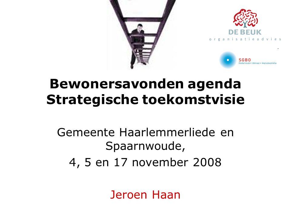 Bewonersavonden agenda Strategische toekomstvisie Gemeente Haarlemmerliede en Spaarnwoude, 4, 5 en 17 november 2008 Jeroen Haan