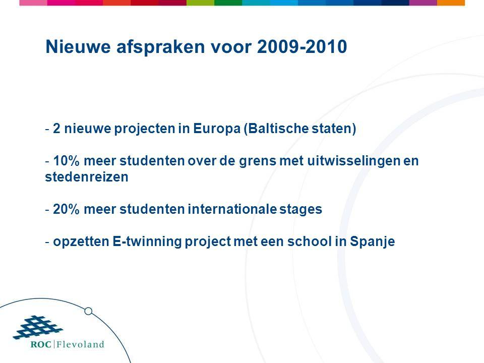 - 2 nieuwe projecten in Europa (Baltische staten) - 10% meer studenten over de grens met uitwisselingen en stedenreizen - 20% meer studenten internationale stages - opzetten E-twinning project met een school in Spanje Nieuwe afspraken voor 2009-2010