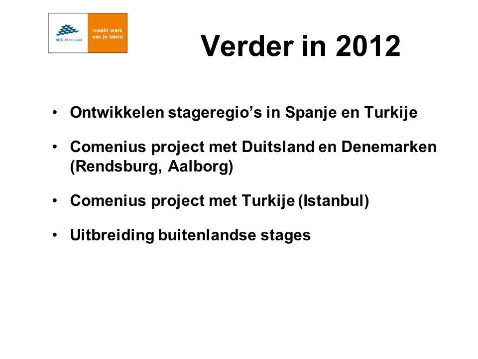 Verder in 2012 Ontwikkelen stageregio's in Spanje en Turkije Comenius project met Duitsland en Denemarken (Rendsburg, Aalborg) Comenius project met Turkije (Istanbul) Uitbreiding buitenlandse stages