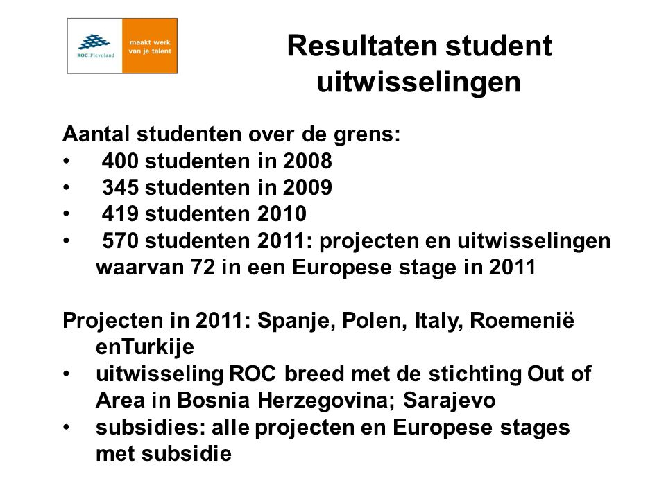 Aantal studenten over de grens: 400 studenten in 2008 345 studenten in 2009 419 studenten 2010 570 studenten 2011: projecten en uitwisselingen waarvan 72 in een Europese stage in 2011 Projecten in 2011: Spanje, Polen, Italy, Roemenië enTurkije uitwisseling ROC breed met de stichting Out of Area in Bosnia Herzegovina; Sarajevo subsidies: alle projecten en Europese stages met subsidie Resultaten student uitwisselingen