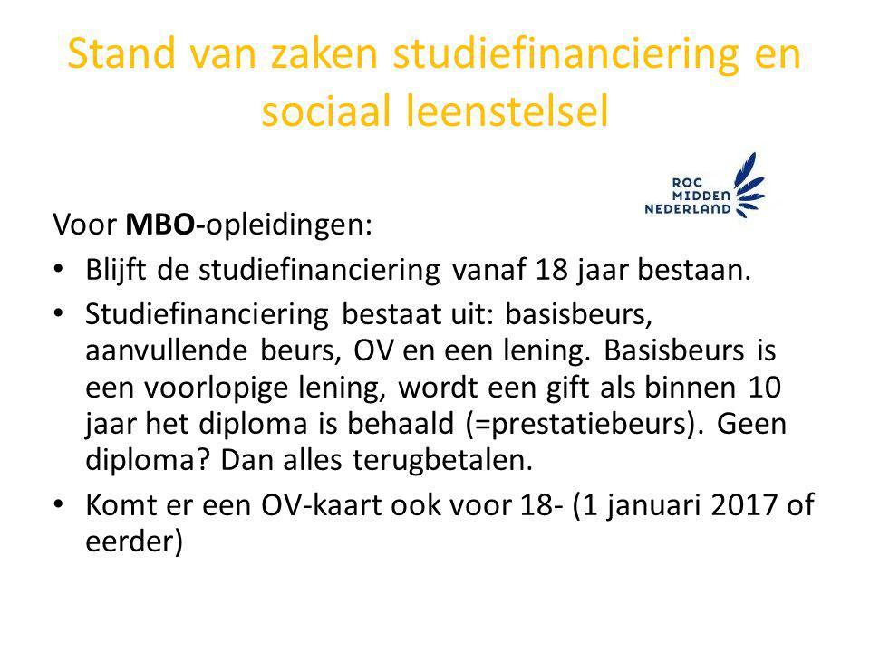 Stand van zaken studiefinanciering en sociaal leenstelsel Voor MBO-opleidingen: Blijft de studiefinanciering vanaf 18 jaar bestaan. Studiefinanciering