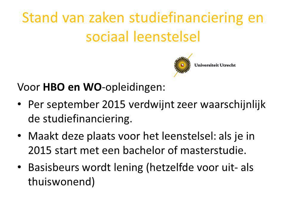 Stand van zaken studiefinanciering en sociaal leenstelsel Voor HBO en WO-opleidingen: Per september 2015 verdwijnt zeer waarschijnlijk de studiefinanc