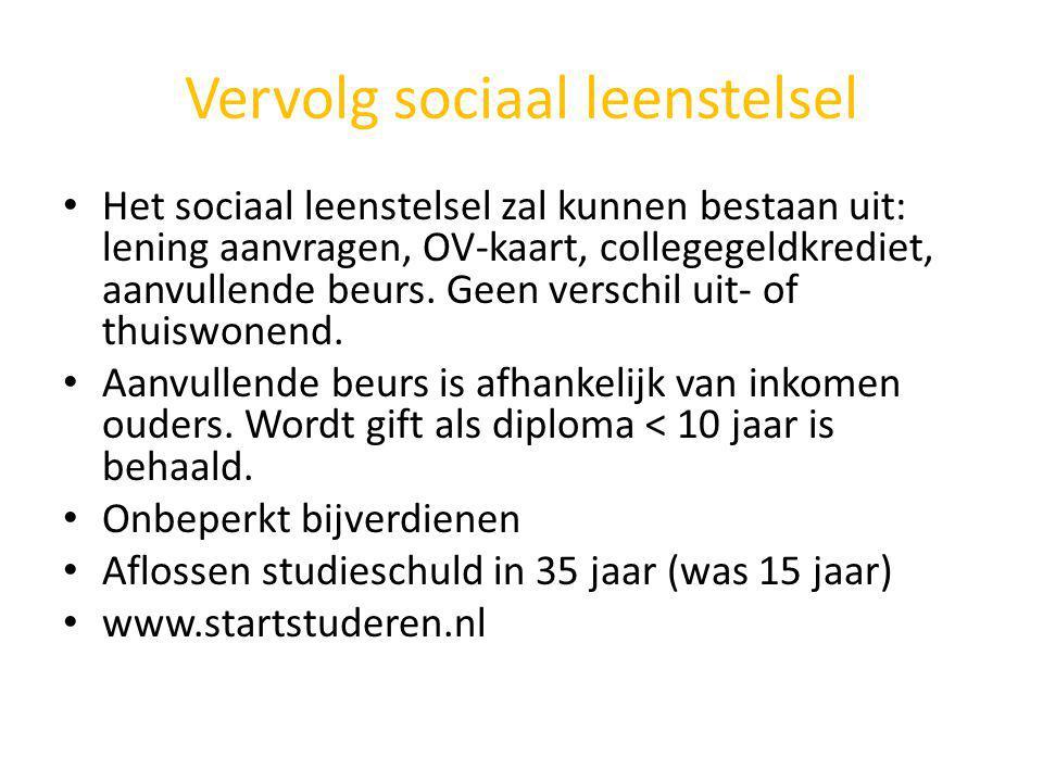 Vervolg sociaal leenstelsel Het sociaal leenstelsel zal kunnen bestaan uit: lening aanvragen, OV-kaart, collegegeldkrediet, aanvullende beurs. Geen ve