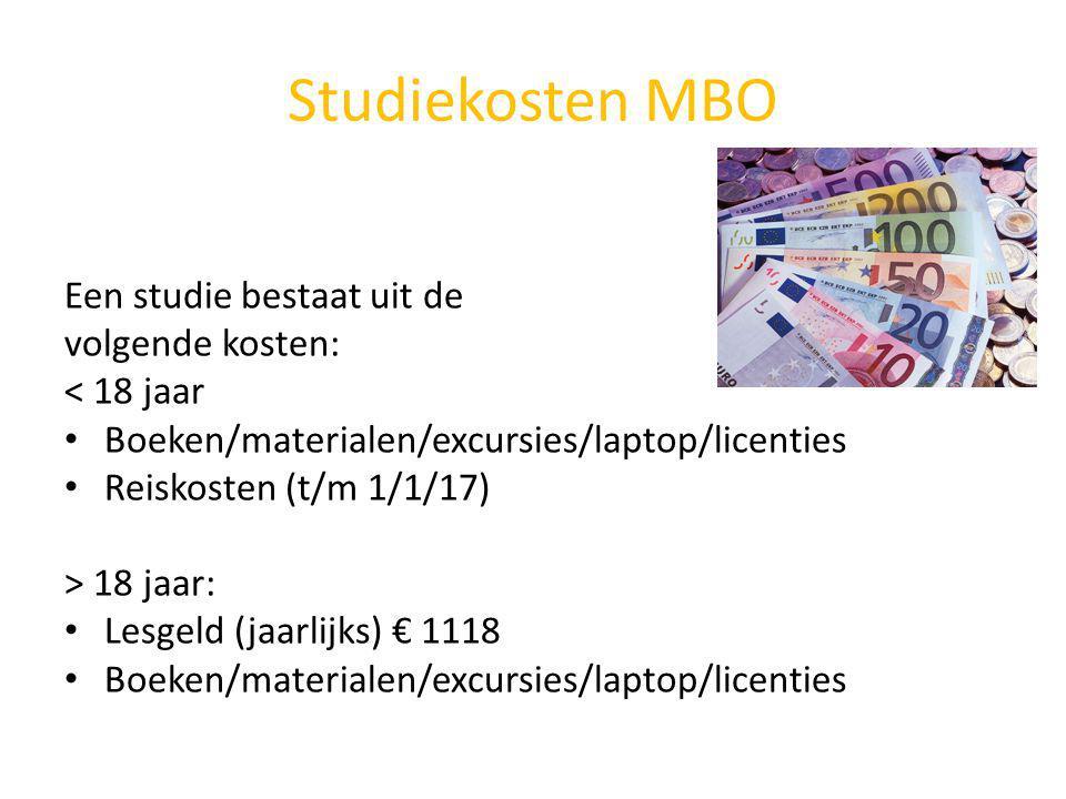 Studiekosten MBO Een studie bestaat uit de volgende kosten: < 18 jaar Boeken/materialen/excursies/laptop/licenties Reiskosten (t/m 1/1/17) > 18 jaar: