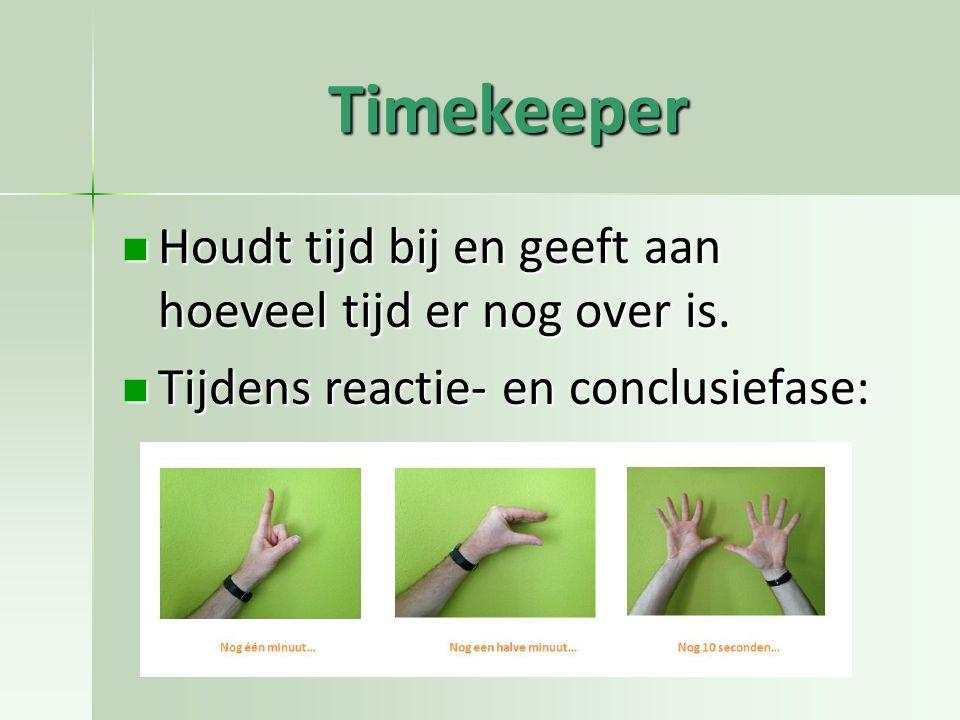 Timekeeper Houdt tijd bij en geeft aan hoeveel tijd er nog over is. Houdt tijd bij en geeft aan hoeveel tijd er nog over is. Tijdens reactie- en concl