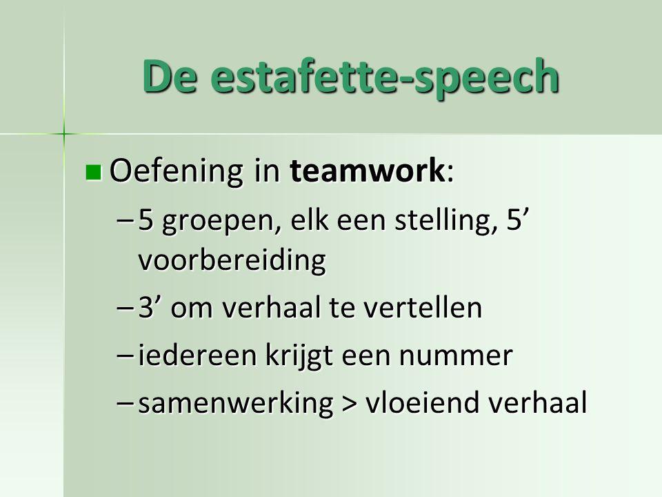 De estafette-speech Oefening in teamwork: Oefening in teamwork: –5 groepen, elk een stelling, 5' voorbereiding –3' om verhaal te vertellen –iedereen krijgt een nummer –samenwerking > vloeiend verhaal