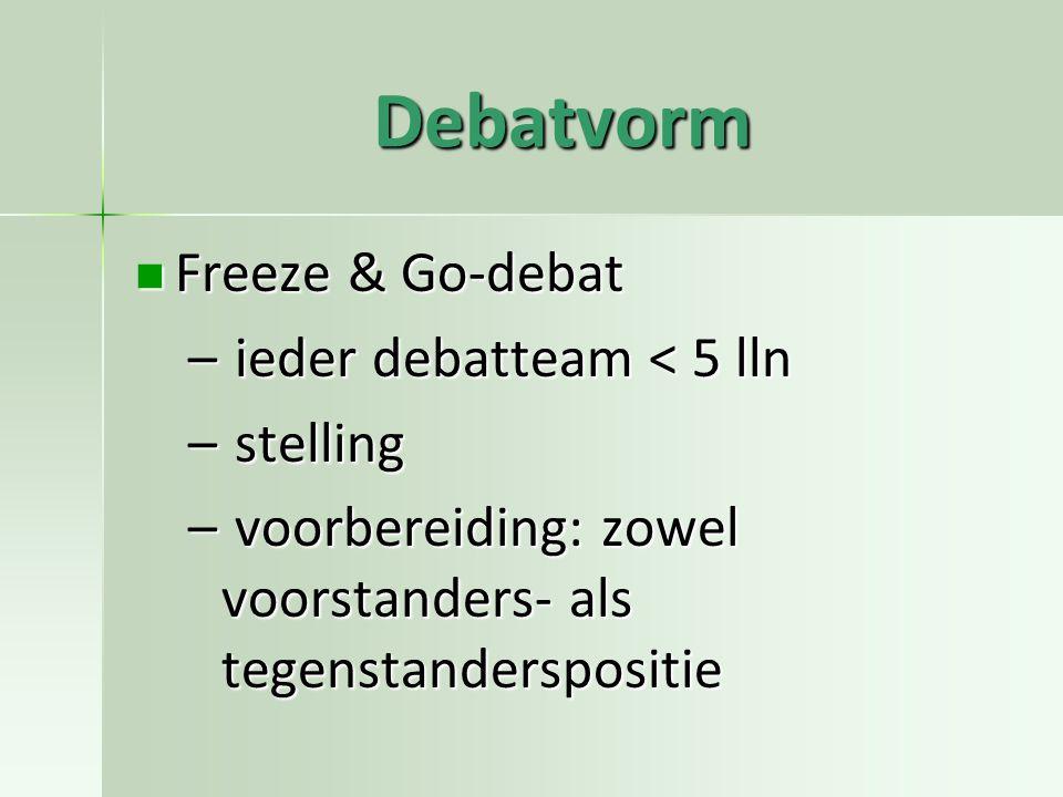 Debatvorm Freeze & Go-debat Freeze & Go-debat – ieder debatteam < 5 lln – stelling – voorbereiding: zowel voorstanders- als tegenstanderspositie