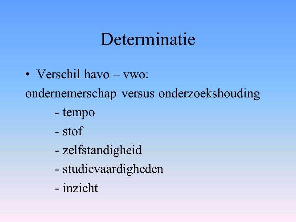 Determinatie Verschil havo – vwo: ondernemerschap versus onderzoekshouding - tempo - stof - zelfstandigheid - studievaardigheden - inzicht