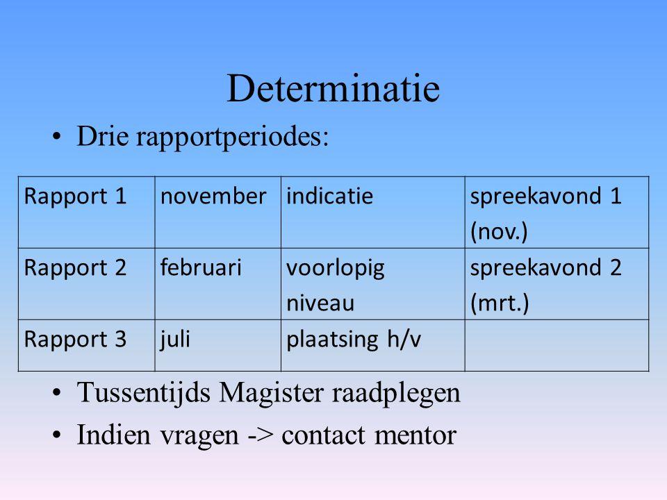 Determinatie Drie rapportperiodes: Tussentijds Magister raadplegen Indien vragen -> contact mentor Rapport 1novemberindicatie spreekavond 1 (nov.) Rap