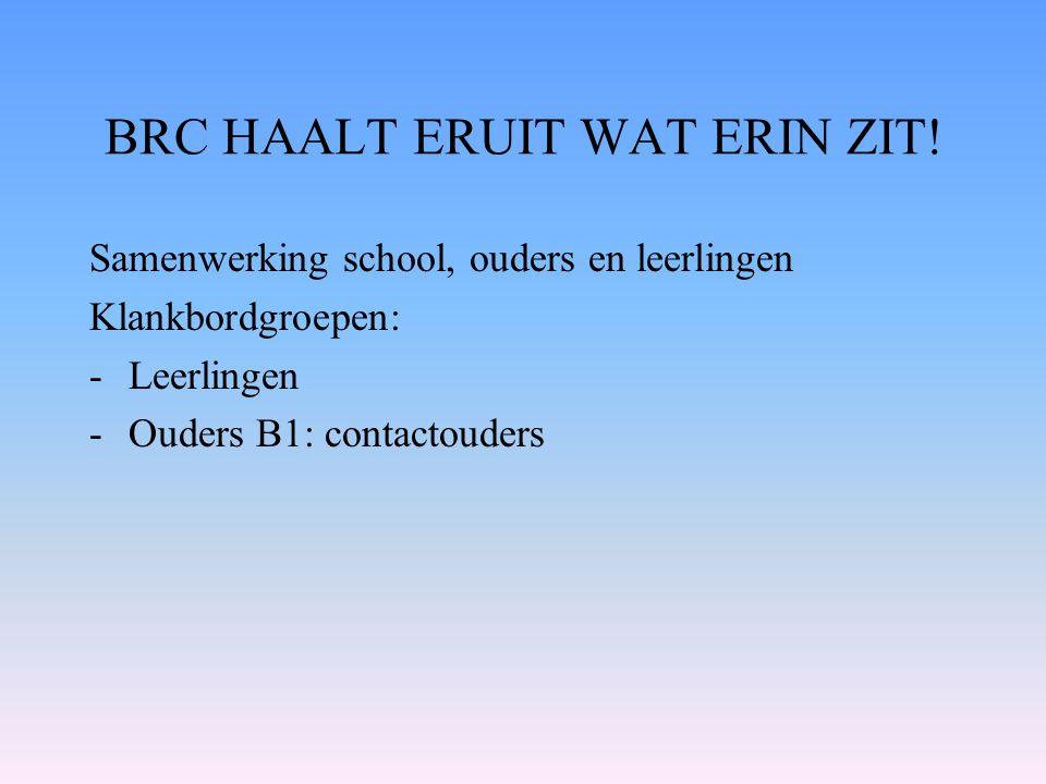 BRC HAALT ERUIT WAT ERIN ZIT! Samenwerking school, ouders en leerlingen Klankbordgroepen: -Leerlingen -Ouders B1: contactouders