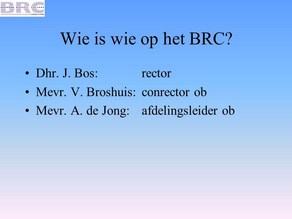 Wie is wie op het BRC? Dhr. J. Bos: rector Mevr. V. Broshuis: conrector ob Mevr. A. de Jong: afdelingsleider ob