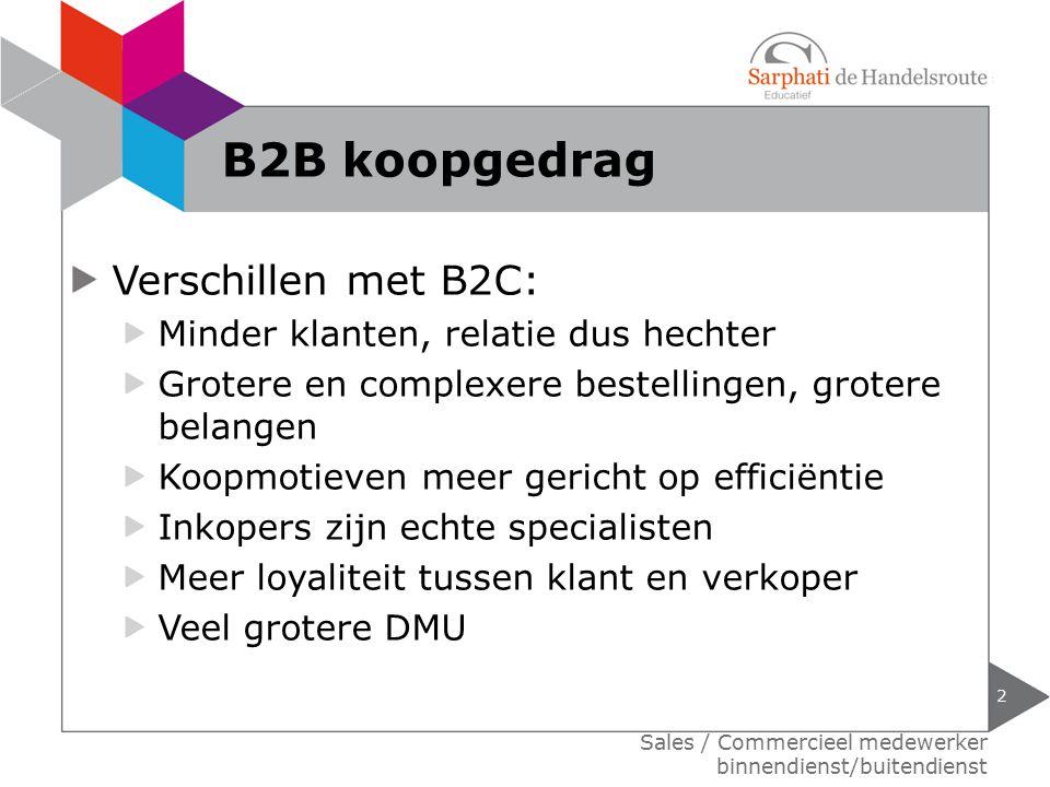 Verschillen met B2C: Minder klanten, relatie dus hechter Grotere en complexere bestellingen, grotere belangen Koopmotieven meer gericht op efficiëntie