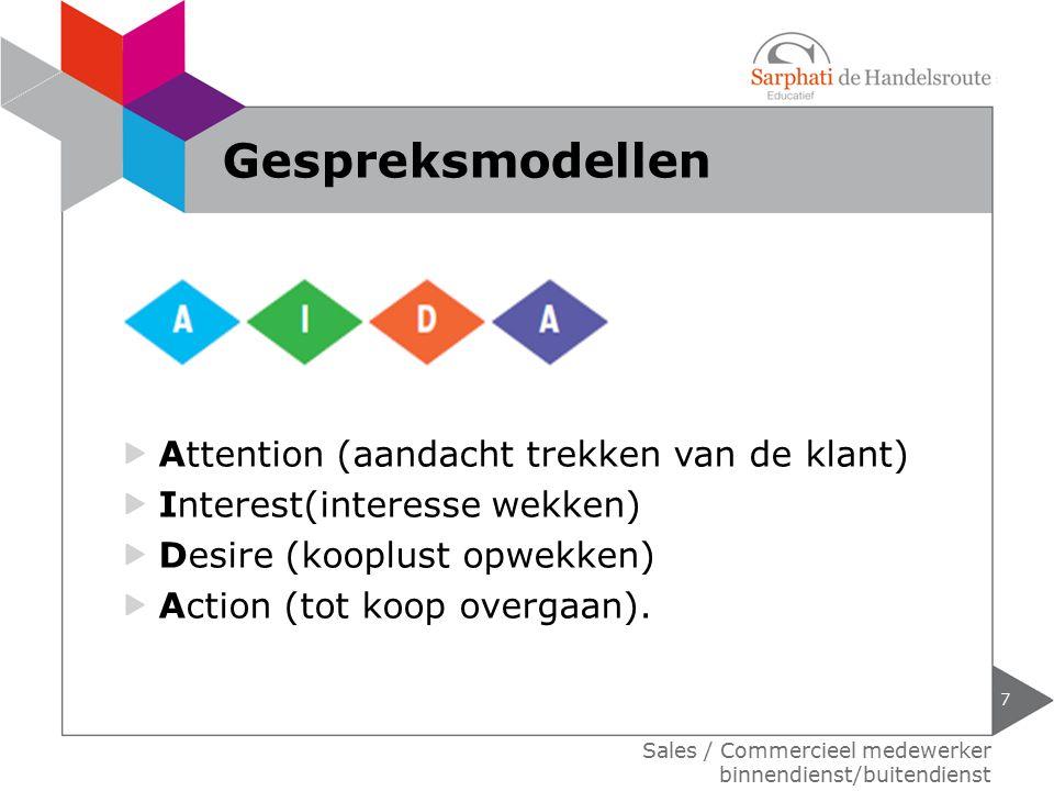 Attention (aandacht trekken van de klant) Interest(interesse wekken) Desire (kooplust opwekken) Action (tot koop overgaan). 7 Sales / Commercieel mede